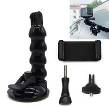 Slang Snake arm auto sucker vier-sectie universele zuignap + telefoon clip voor GoPro Hero 5 sessie/Xiaoayi/Xiaomi/AKASO EK5000