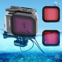 45m Waterproof Housing Protective Case + Touch Screen Back Cover for GoPro NEW HERO /HERO6 /5  with Buckle Basic Mount & Screw & ((Purple  Red  Pink) Filters  No Need to Remove Lens (Transparent)