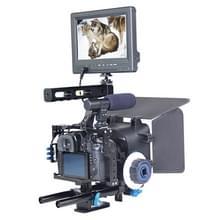 YELANGU YLG1105A Video Camera Kooi Stabilisator + Handgreep + Matte Box & Follow Focus Set voor Panasonic Lumix DMC-GH4 / Sony A7 & A7S & A7R & A7RII & A7SII