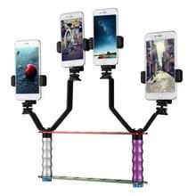 Smartphone Live Broadcast Bracket Dual Hand-held Selfie Mount Kits with 2x V-Bracket + 3x Phone Clips  For iPhone  Galaxy  Huawei  Xiaomi  HTC  Sony  Google and other Smartphones