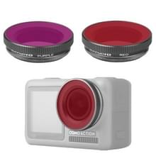 2 in 1 Sunnylife OA-FI180 Lens Rood + Purple Diving Filter voor DJI OSMO ACTION