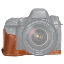1/4 inch draad PU lederen camera half Case Base voor Canon EOS 6D/6D Mark II (bruin)