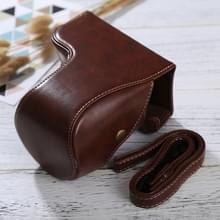 Full Body Camera PU lederen Case tas met riem voor Sony ILCE-6500 / A6500 (koffie)
