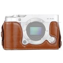 1/4 inch draad PU lederen camera halve Case Base voor FUJIFILM X-a3/X-A10 (bruin)