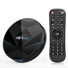 HK1MINI + 4K HD Smart TV BOX  Android 9.0  RK3318 Quad-Core 64bit cortex-A53  4GB + 128GB  ondersteuning TF-kaart  HDMI  WIFI  AV  LAN  USB (zwart)