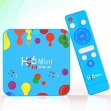 H96 mini H6 6K Smart TV BOX met afstandsbediening  Android 9 0  4GB + 128GB  ondersteuning WiFi/HDMI/USB/AV (blauw)