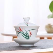 Hand schilderij keramische Kungfu Teaware theekopje met deksel (orchidee)