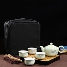 Outdoor reizen mini draagbare keramiek Teaware set met Travel box  patroon: Lotus rhyme