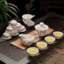 Keramiek Kung Fu Teaware theepot theekopje set (zingende vogels en geurige bloemen)