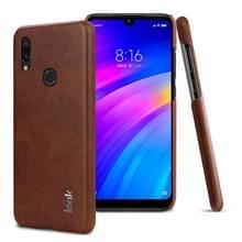 IMAK Ruiyi serie beknopte slanke PU + PC beschermende case voor Xiaomi Redmi Note 7 (bruin)