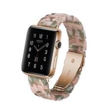 Eenvoudige mode hars horloge band voor Apple horloge serie 4 44mm & serie 3 & 2 & 1 42mm (roze groen)