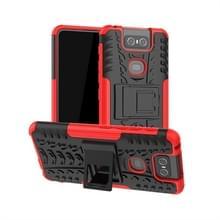 Tire Texture TPU + PC schokbestendige beschermhoes met houder voor ASUS Zenfone 6 ZS630KL (rood)