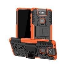 Tire Texture TPU + PC schokbestendige beschermhoes met houder voor ASUS Zenfone 6 ZS630KL (Orange)