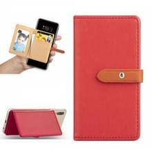 Mobiele telefoon Universal met retro dunne knop pure kleur lederen kaartsleuf & portemonnee & houder & fotolijstjes (rood)