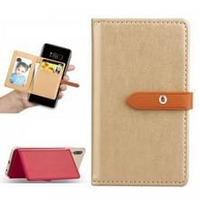 Mobiele telefoon Universal met retro dunne knop pure kleur lederen kaartsleuf & portemonnee & houder & fotolijstjes (goud)