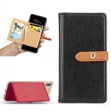 Mobiele telefoon Universal met retro dunne knop pure kleur lederen kaartsleuf & portemonnee & houder & fotolijstjes (zwart)
