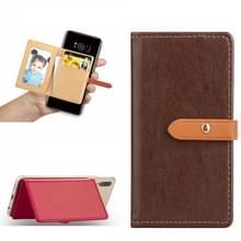 Mobiele telefoon Universal met retro dunne knop pure kleur lederen kaartsleuf & portemonnee & houder & fotolijstjes (bruin)