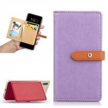 Mobiele telefoon Universal met retro dunne knop pure kleur lederen kaartsleuf & portemonnee & houder & fotolijstjes (paars)