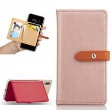 Mobiele telefoon Universal met retro dunne knop pure kleur lederen kaartsleuf & portemonnee & houder & fotolijstjes (roze)