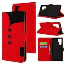 Stof stiksels borduurwerk horizontale Flip lederen draagtas met houder & kaartsleuven & portemonnee voor Huawei P30 Pro (rood)