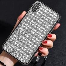 TPU + epoxy driehoekige glas diamant telefoon beschermende case voor iPhone XS/X (zilvergrijs)