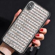 TPU + epoxy driehoekige glas diamant telefoon beschermende case voor iPhone XS/X (Rose goud)