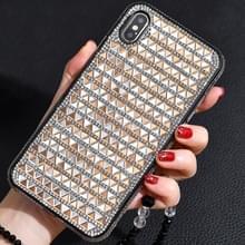 TPU + epoxy driehoekige glas diamant telefoon beschermende case voor iPhone XS/X (goud)