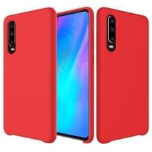Effen kleur Liquid silicone dropproof beschermhoes voor Huawei P30 (rood)
