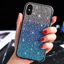 TPU + epoxy Flash Diamond Tri-Color Gradient telefoon beschermende case voor iPhone XS/X (gradiënt blauw)