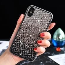 TPU + epoxy Flash Diamond Tri-Color Gradient telefoon beschermende case voor iPhone XS/X (gradiënt zwart)