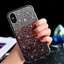 TPU + epoxy Flash Diamond Tri-Color Gradient telefoon beschermende case voor iPhone XS/X (gradiënt paars)