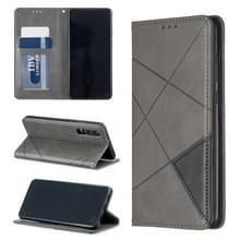 Rhombus textuur horizontale Flip magnetische lederen draagtas met houder & kaartsleuven voor Huawei P30 (grijs)