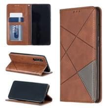 Rhombus textuur horizontale Flip magnetische lederen draagtas met houder & kaartsleuven voor Huawei P30 (bruin)