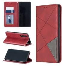 Rhombus textuur horizontale Flip magnetische lederen draagtas met houder & kaartsleuven voor Huawei P30 (rood)