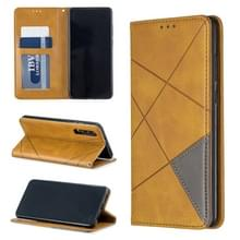 Rhombus textuur horizontale Flip magnetische lederen draagtas met houder & kaartsleuven voor Huawei P30 (geel)