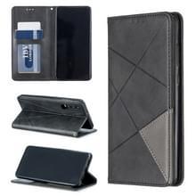 Rhombus textuur horizontale Flip magnetische lederen draagtas met houder & kaartsleuven voor Huawei P30 (zwart)