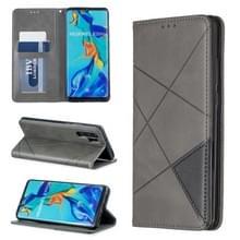 Rhombus textuur horizontale Flip magnetische lederen draagtas met houder & kaartsleuven voor Huawei P30 Pro (grijs)