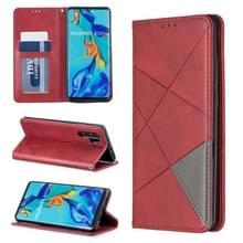 Rhombus textuur horizontale Flip magnetische lederen draagtas met houder & kaartsleuven voor Huawei P30 Pro (rood)