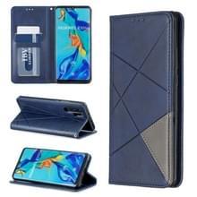 Rhombus textuur horizontale Flip magnetische lederen draagtas met houder & kaartsleuven voor Huawei P30 Pro (blauw)