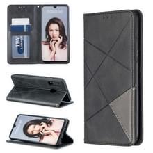 Rhombus textuur horizontale Flip magnetische lederen draagtas met houder & kaartsleuven voor Huawei P30 Lite/Nova 4e (zwart)
