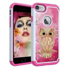 iPhone 7 Plus & 8 Plus Kleurrijk uil patroon TPU + Kunststof back cover Hoesje