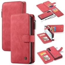 CaseMe-007 afneembare multifunctionele horizontale Flip lederen draagtas met kaartsleuf & houder & rits portemonnee & fotolijstjes voor Galaxy Note 10 (rood)