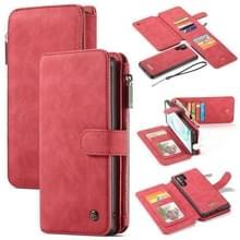 CaseMe-007 afneembare multifunctionele horizontale Flip lederen draagtas met kaartsleuf & houder & rits portemonnee & fotolijstjes voor Galaxy Note 10 + (rood)