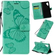 Gedrukt afdrukken Butterfly patroon horizontale Flip PU lederen draagtas met houder & kaartsleuven & portemonnee & Lanyard voor Galaxy Note 10 +/10 Pro (groen)