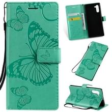 Gedrukt afdrukken Butterfly patroon horizontale Flip PU lederen draagtas met houder & kaartsleuven & portemonnee & Lanyard voor Galaxy Note 10 (groen)