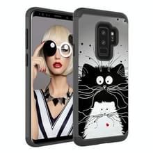 Gekleurde tekening patroon PC + TPU beschermende case voor Galaxy S9 PLUS (zwart-wit katten)