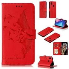 Feather patroon Litchi textuur horizontale Flip lederen draagtas met portemonnee & houder & kaartsleuven voor Xiaomi Redmi Note 7 (rood)