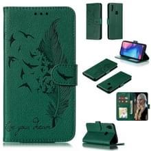 Feather patroon Litchi textuur horizontale Flip lederen draagtas met portemonnee & houder & kaartsleuven voor Xiaomi Redmi Note 7 (groen)