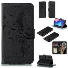 Feather patroon Litchi textuur horizontale Flip lederen draagtas met portemonnee & houder & kaartsleuven voor Xiaomi Redmi Note 7 (zwart)