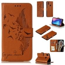 Feather patroon Litchi textuur horizontale Flip lederen draagtas met portemonnee & houder & kaartsleuven voor Xiaomi Redmi Note 7 (bruin)